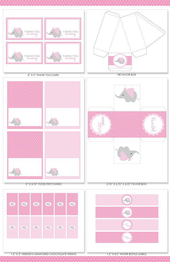 Pink Elephant Baby Shower Party Package Pink por colorsandpixels