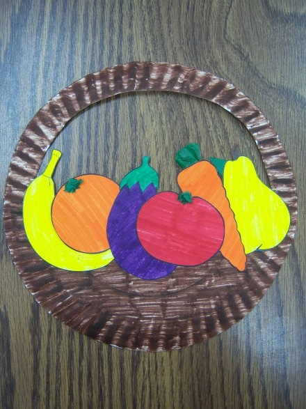 Paper Plate Basket of Fruit (use vegetables instead!)