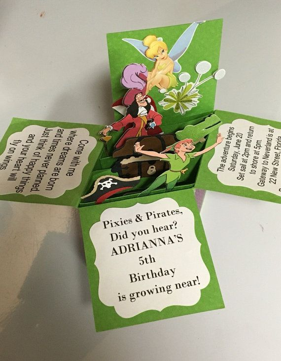 POP UP INVITATION, peter pan invitation, neverland invitation, set of 5