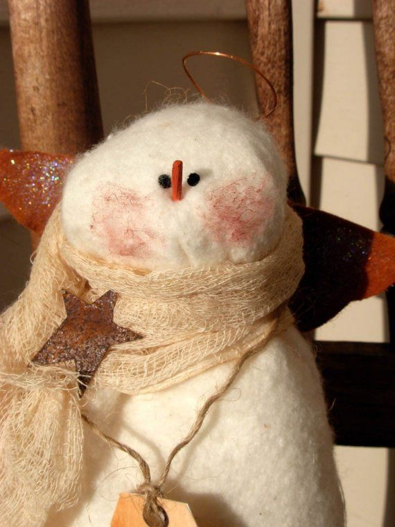 Soft Sculpture Snowman Angel Tree Topper by bywayofsalem on Etsy, $14.00