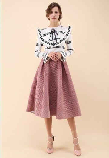 df05ae0905 Fancy Sheen Quilted Velvet Skirt in Pink - Skirt - BOTTOMS - Retro ...