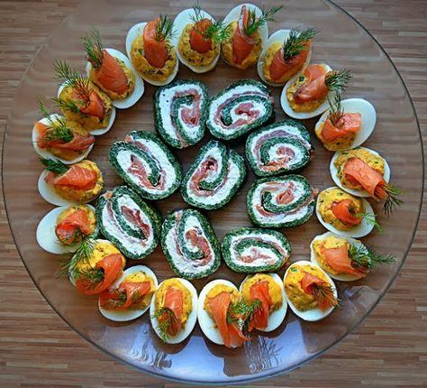 ŻYCIE OD KUCHNI: rolada szpinakowa z łososiem i jajka faszerowane łososiem