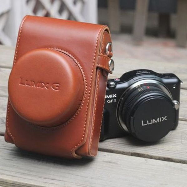 Leather Camera Cover Bag For Panasonic GF3 GF5 14mm 20mm Fixed ModelD