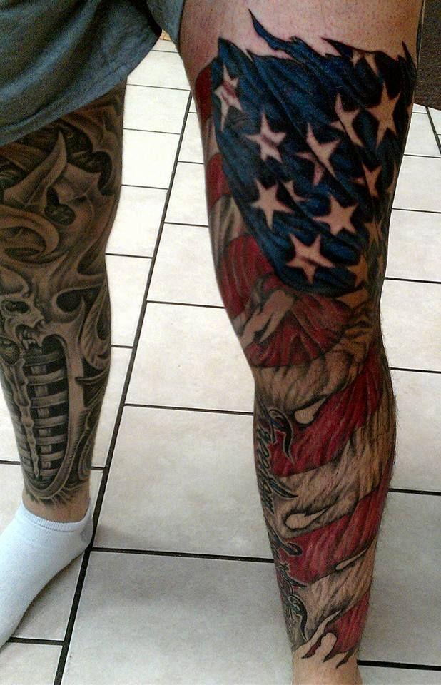 American Flag Tattoo On Left Leg