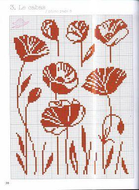 Cross stitch poppies