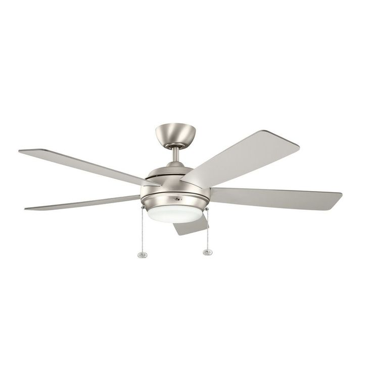 This Starkk collection 52-inch 5 blade ceiling fan features a brushed nickel finish that will subtly highlight transitional décors throughout your home. The white satin etched glass softens the light.
