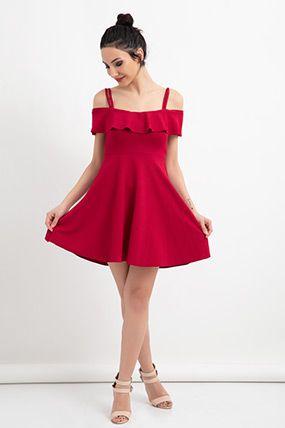 b24c8151304aa ELA-58263 Volanlı Biyeli Kloş Elbise | Elbise Modelleri | Elbise ...