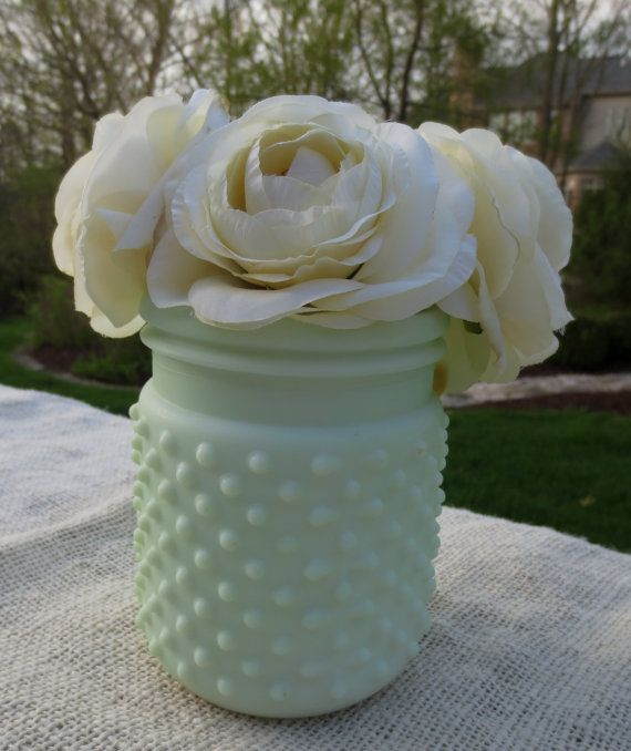 Hobnail Jar Sea Foam Green Home Decor Vase Votive Wedding Bridal Shower