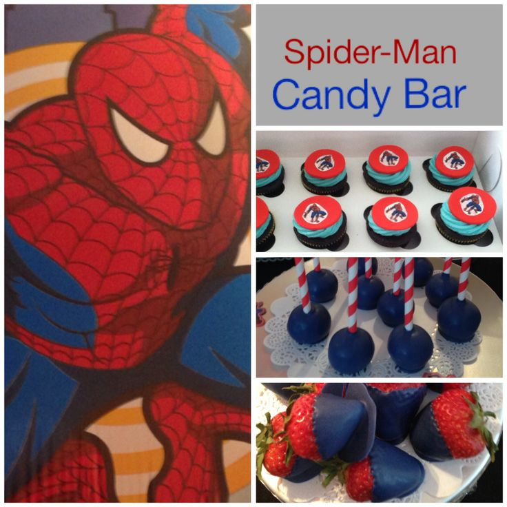 Spider-Man Candy Bar -strawberries dipped in dark blue chocolate -cupcakes with edible spiderman fondant and cake pops
