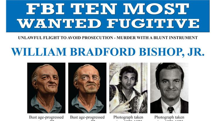 """This image provided by the FBI shows part of a poster featuring William Bradford Bishop Jr., a man sought for the 1976 killings of five family members in Maryland, who has just been placed on the bureau's """"Ten Most Wanted"""" list. The FBI says Bishop, suspected of bludgeoning his mother, wife and three sons to death with a hammer nearly 40 years ago, has Southern California roots. Agents are taking a second look at the case of Bishop, who hasn't been seen since the day after ..."""