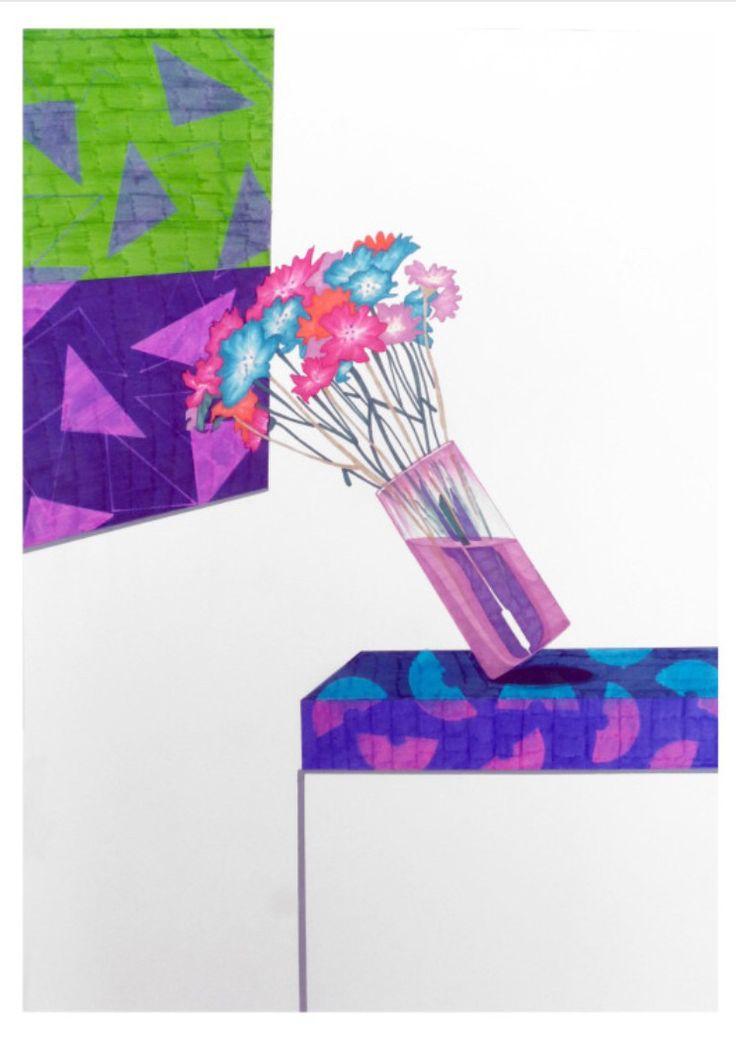 Azucena González // Ensayo sobre el vértigo . 2014.                  50 x 70 cm #Drawing #paper #art #fall #flowers #markers #art #contemporaryart #azucenagonzalez #galeriamrpink