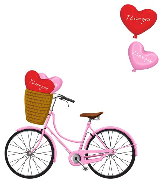 Valentine's Day Bicycle PNG Clipart Image