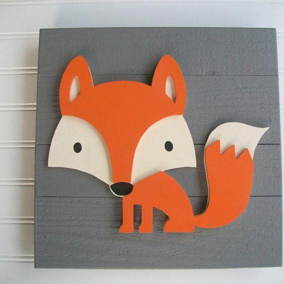 Fox signe. 12 x 12 3D. Decor de renard. Pépinière de renard.
