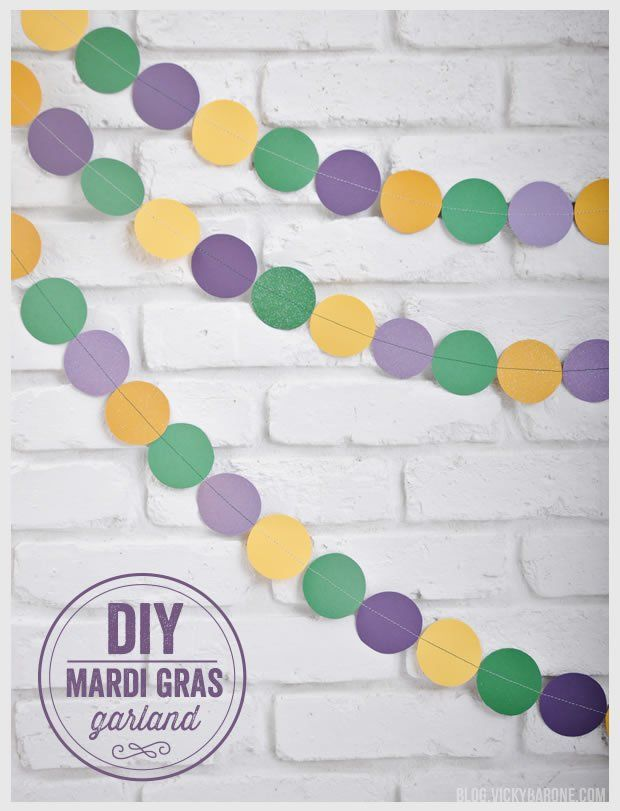 A little yellow, green and purple scrapbook paper can go a long way. Here's a super simple DIY Mardi Gras decoration tutorial by Vicky Barone. If you're having a Mardi Gras party, this craft is a must-make.