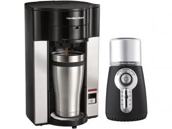 Cafeteira Elétrica Hamilton Personal Cup 2 Xícaras - Preto e Prata + Moedor Elétrico de Café