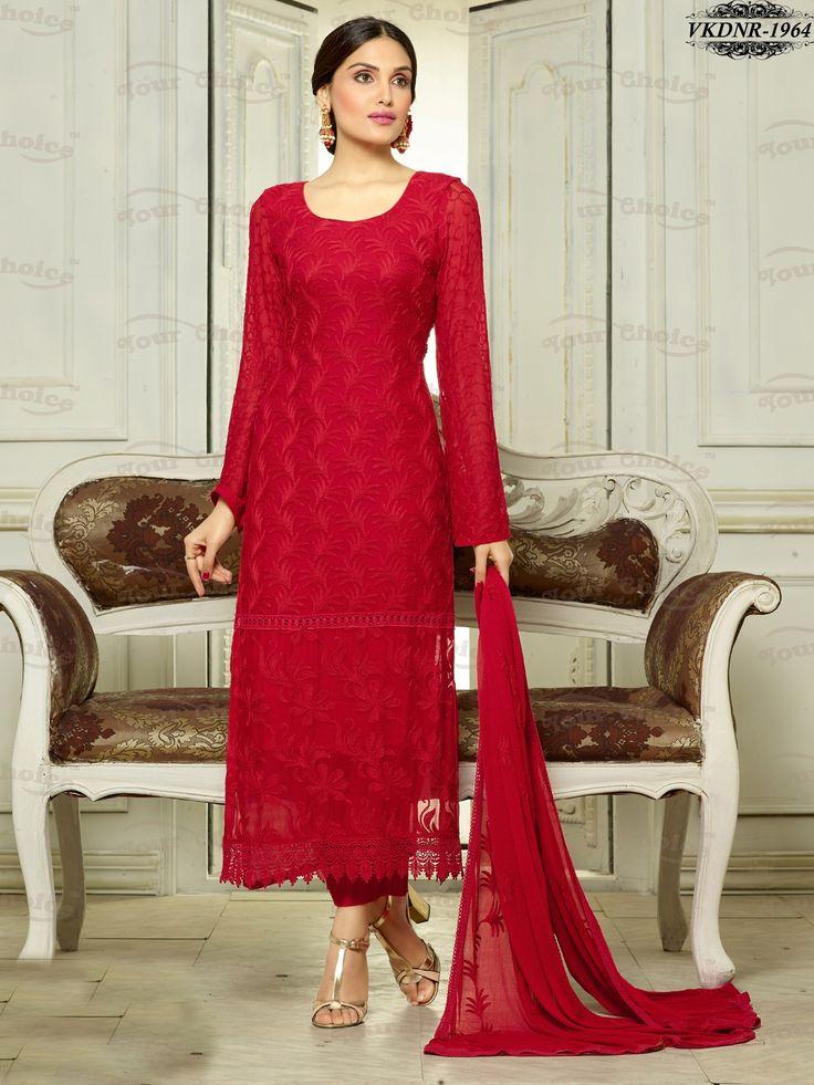 Red Color Velvet Embroidered Straight Salwar Kameez