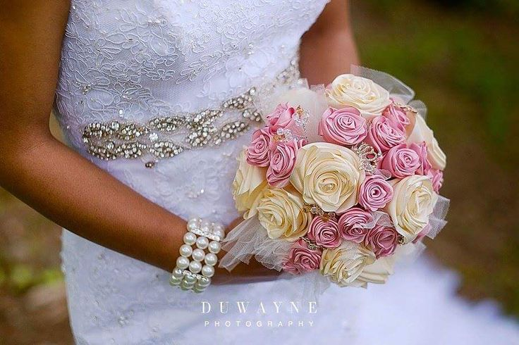 This was so much fun to create. This bridal bouquet was made with satin ribbon tulle and bling pieces.