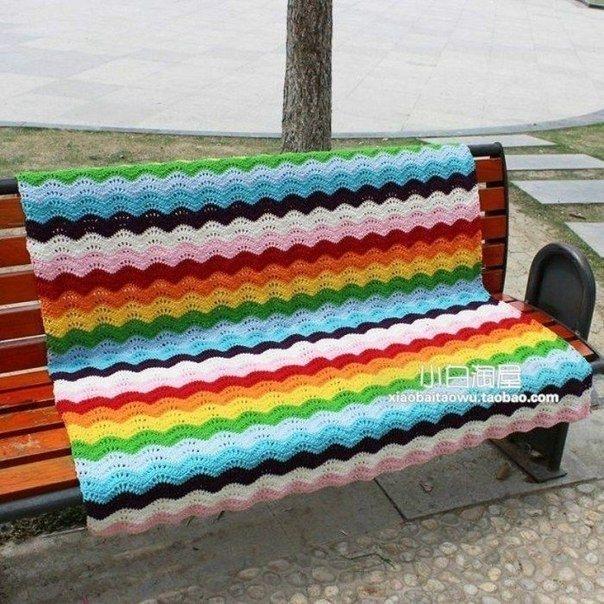 Разноцветный плед крючком. Схема узора