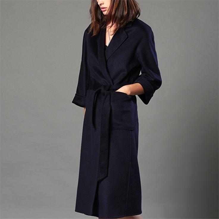 Women 100% Cashmere Woolen Coats Brand Double-side Ladies High Quality <font><b>Long</b></font> Slim Fit Autumn Winter Thick Woolen Overcoat W4069