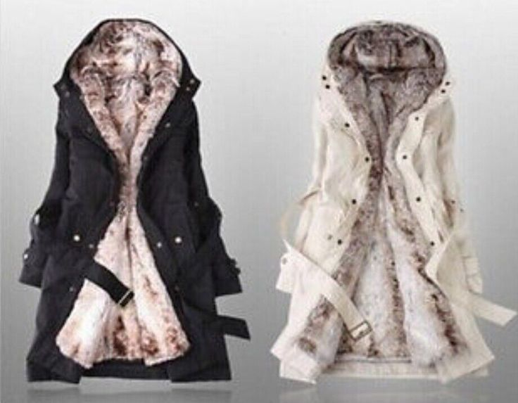 Winter Faux Fur Lining Parka Womens Hooded Outwear Warm Jackets Coats Hot