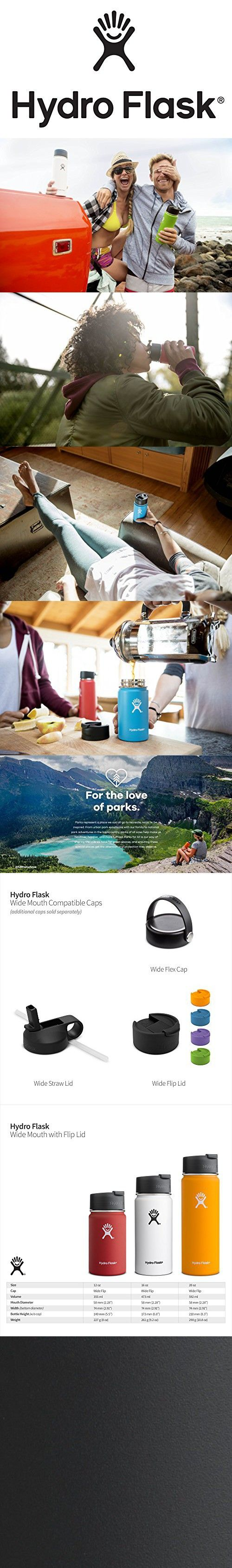 Hydro Flask 20 oz Double Wall Vacuum Insulated Stainless Steel Water Bottle / Travel Coffee Mug, Wide Mouth with BPA Free Hydro Flip Cap, Black