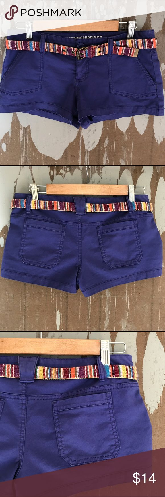 "Mossimo Cobalt Blue Shorts Belted Pockets Size 7 Mossimo Supply Co. belted shorts. SIZE 7 . (Target Fit Style: 6) Juniors. Cobalt Blue, darling. Waist: 15"" Inseam: 2.75"" Rise: 8"" Excellent condition, no signs of wear. Inventory: K19 Mossimo Supply Co Shorts Cargos"