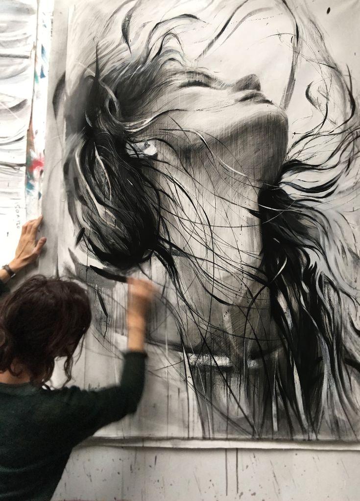 ewa hauton #painting drawing #oiloncanvas #blackandwhite #face #grandformat #contemporaryart #atelier #wip #instaart