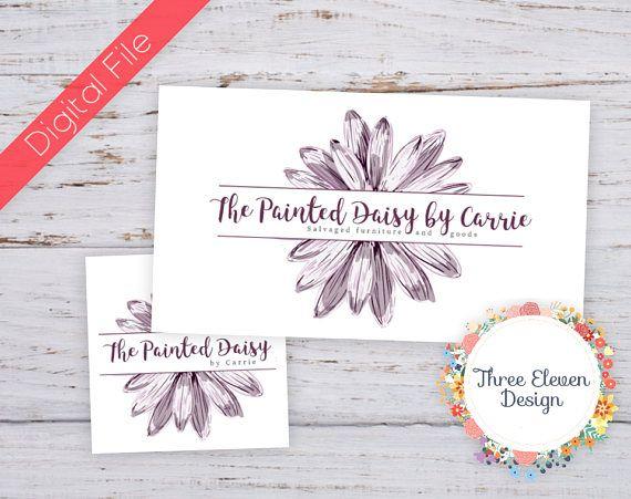 Purple Daisy Printable Business Card, Purple Daisy Branding Logo, Purple Daisy Logo