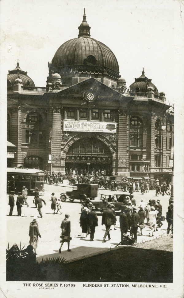 Flinders Street Station Melbourne Victoria Australia Vintage Rose Postcard