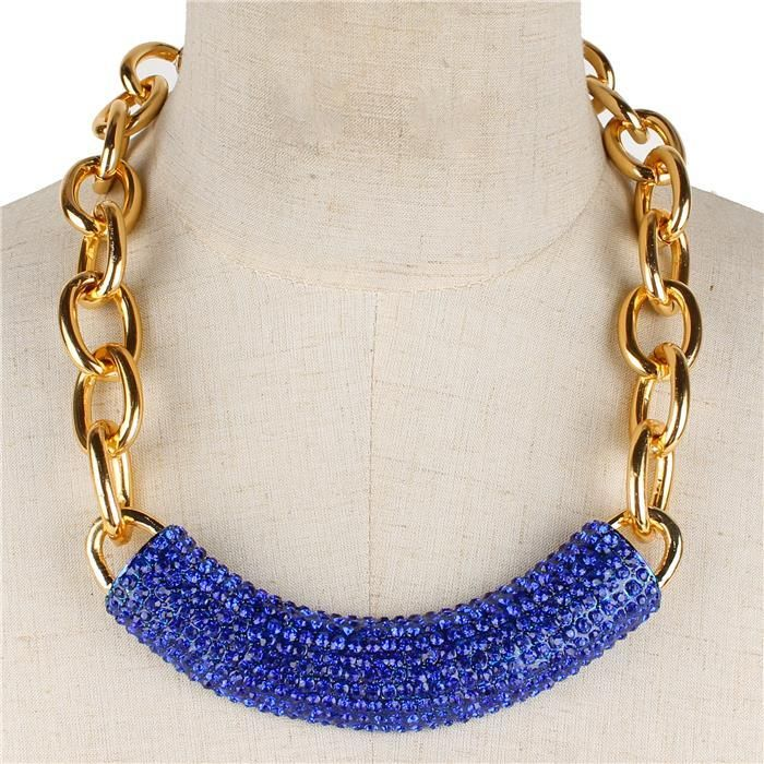 """18"""" crystal pave chunky chain necklace celebrity"""