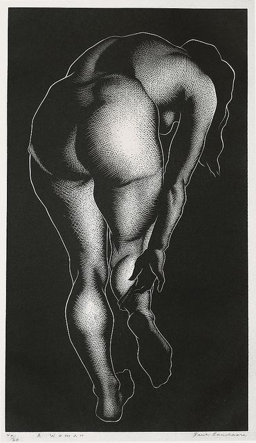 """A Woman"", Wood Engraving, 1937 // by Paul Landacre 