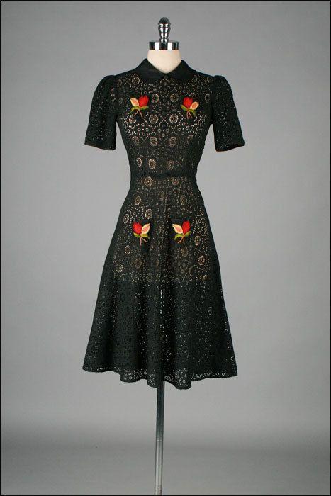 Vintage 1940s Dress . Black Cotton Lace . Yarn Flowers.