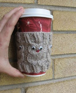 Free Knitting Pattern - Cozies: Owl Coffee Cup Cozy