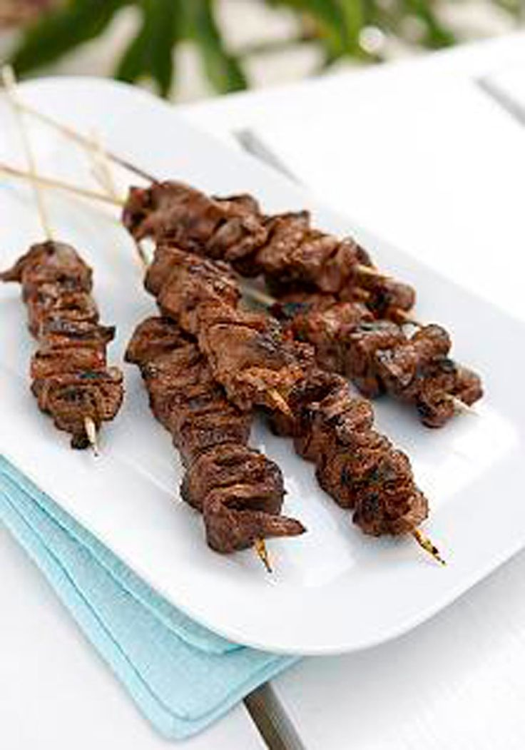 Carmelized-Beef Skewers -- The beauty of this kabob recipe are the thin strips of meat that soak up the sauce's tangy flavor. Plus, it's ready for the dinner table in less than 30 minutes!