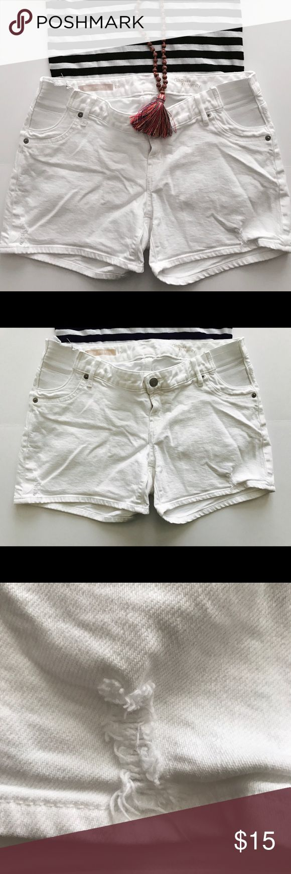 Gap distressed white denim shorts In like new condition. Love the distressing on this pair. No stains. Comfortable waist band. GAP Shorts