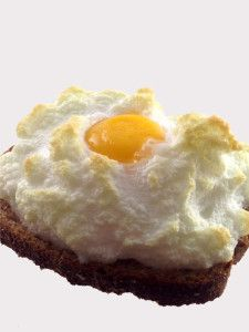 eggs in clouds (whipped-to-stiff egg whites baked on toast with the yolks set on top of them)