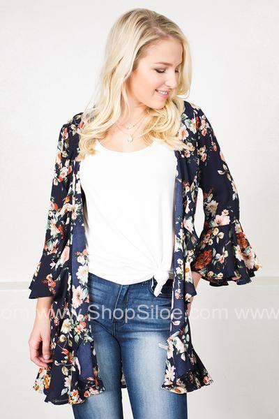 Ruffled Navy Floral Kimono #fashion #women #outfit #kimono #floral