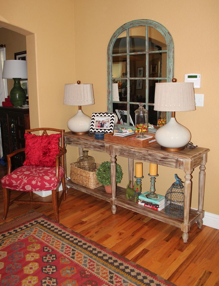 Front entry way makeover. Table is from World Market ...