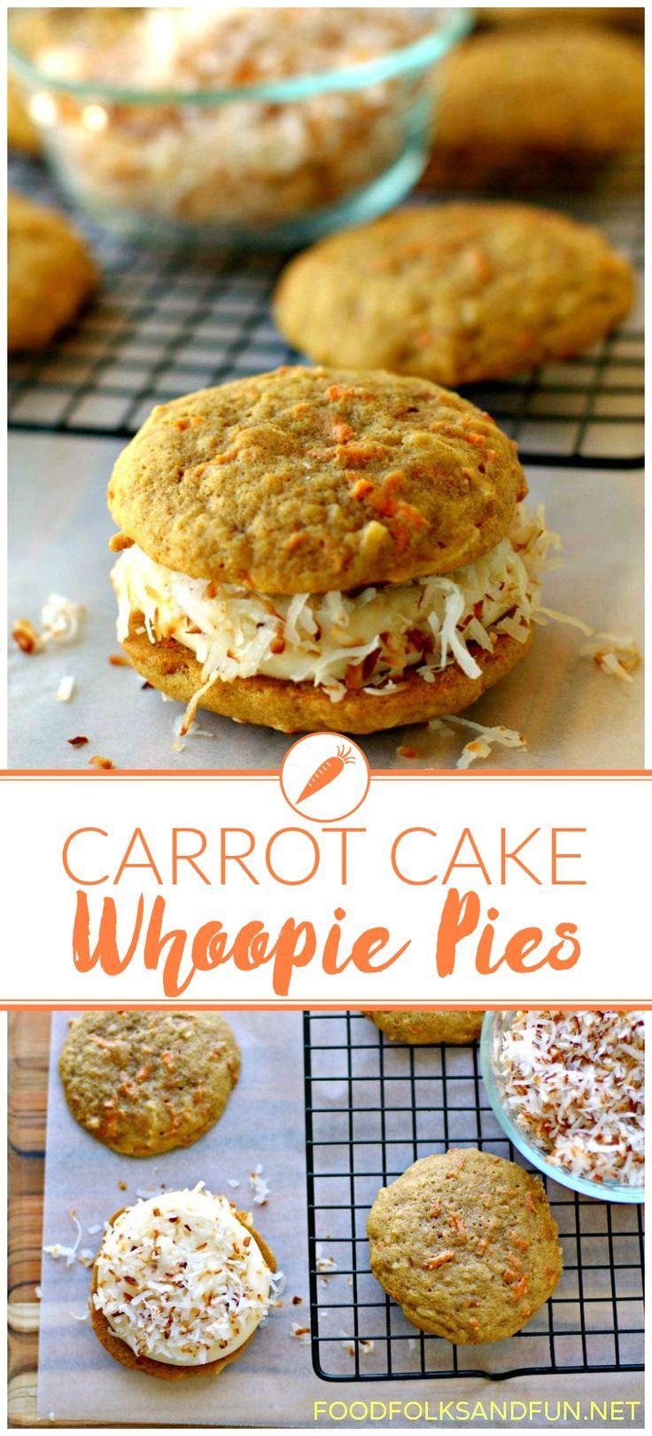 Carrot Cake Whoopie Pies with Coonut   Spring Dessert   Easter Desert   Bake Sale Recipe