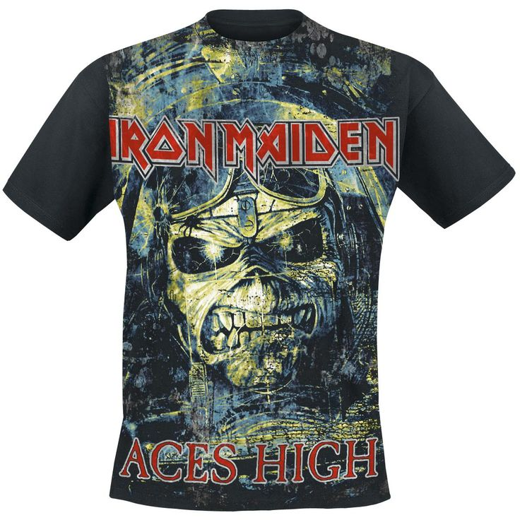 This original Iron Maiden T-Shirt with Aces High jumbo print is exclusive to EMP. The colourful print shows the album cover between the Iron Maiden writing and the blood-red album title Aces High on...