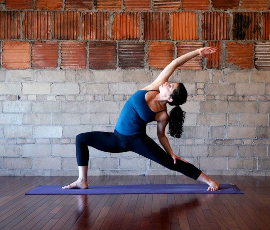 Crescent Moon  Lower your left arm to your left leg and arch back coming into Crescent Moon, also known as Reverse Warrior. Continue to lower your pelvis, keeping your right knee over your ankle. Hold the pose for five full breaths.