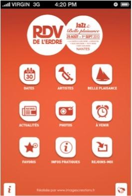 Festival RDV Erdre l'application iPhone | UX Design App iPhone Android