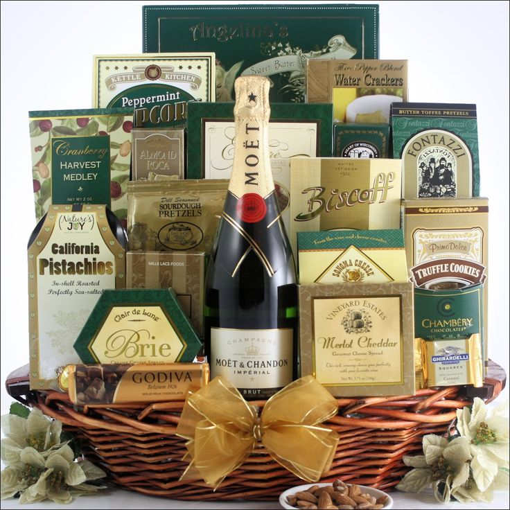 Best Wishes for the New Year: Champagne Gift Basket with Moet & Chandon Imperial Champagne