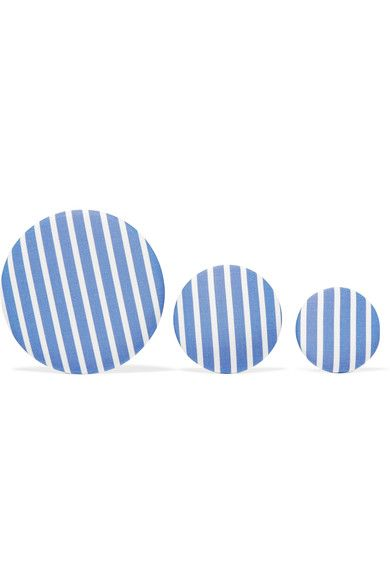 Balenciaga - Set Of Three Striped Poplin And Silver-tone Earrings - Blue - one size