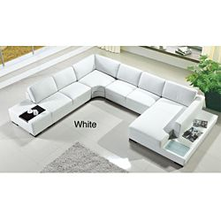 @Overstock.com - Artistant House 4-piece White Leather Sectional - This Artisians House Sectional sofa by Marthena Home Furnishings features a modern design and a white leather upholstery. Square, overstuffed back cushions add extra comfort.    http://www.overstock.com/Home-Garden/Artistant-House-4-piece-White-Leather-Sectional/4806622/product.html?CID=214117  $2,488.99