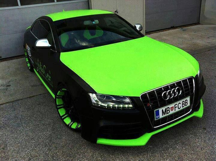 audi with neon lime green partial wrap and accents car wrap dreams pinterest wraps. Black Bedroom Furniture Sets. Home Design Ideas