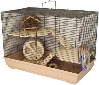 Perfektes Zuhause für Hamster: Hamsterkäfig Lava Nature Deluxe. Er bietet viele Extras z.B. 2 Holzetagen, 2 Holzleitern, Holzhaus, Holzlaufrad, Holzröhre, Napf und Tränke.