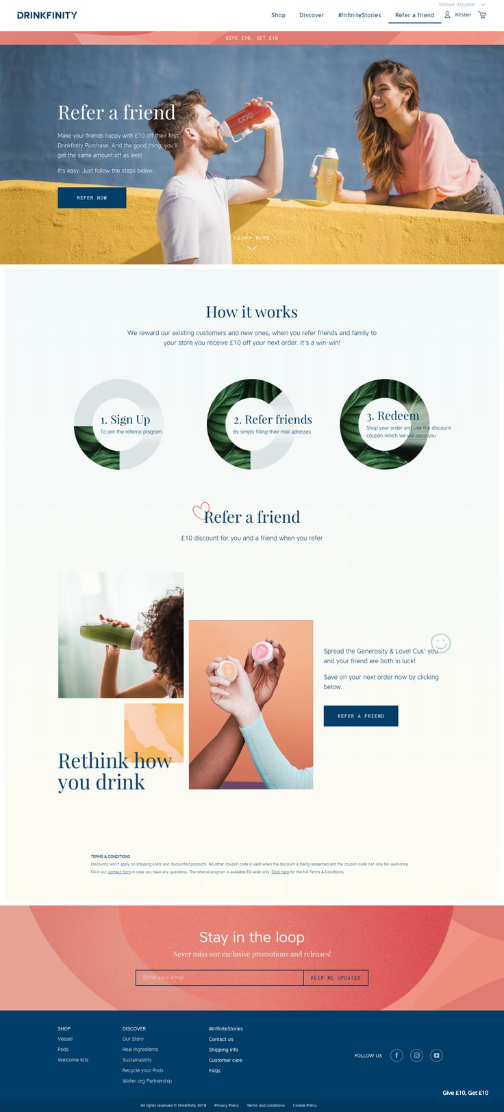 Drinkfinity explains their referral program with a beautiful branded page that breaks their program down into easy to digest sections.