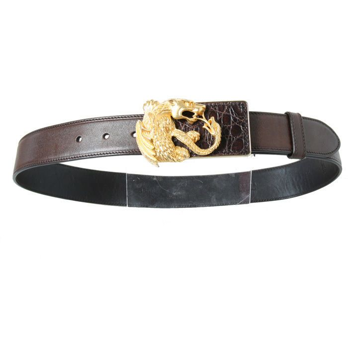 Prada Animalier Dragon Belt Brown Leather Gold Tone Dragon ...