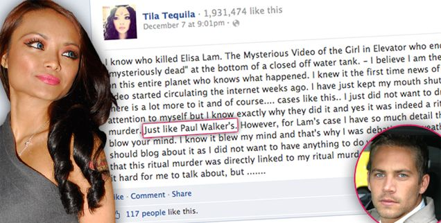 Welp, Tila was exposing the illuminati, AGAIN, and now was brainwashed to try to kill herself. Ironic! That just proves it..